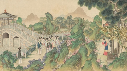 A 19th Century painting from a series of brush paintings by Qing Dynasty artist Sun Wen, depicting scenes from the novel Dream of the Red Chamber.