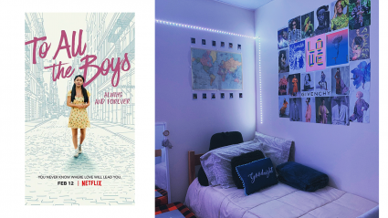 """Left: the cover of the movie """"To All the Boys""""; Right: a bed in a students room"""