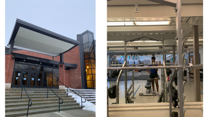 Left: the outside of Kendall fitness center; Right: Tess Tuitoek takes a selfie through the mirror inside Kendall fitness center among the exercise equipment