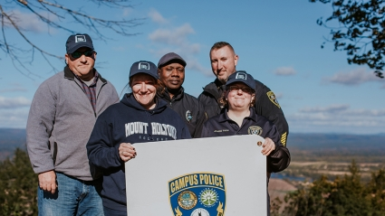 Campus police on the summit on Mount Holyoke College's Mountain Day 2018.