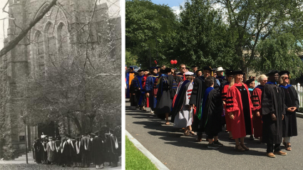 Archival photo of the Convocation procession in the 1930s and a photo of the Convocation procession in  2018