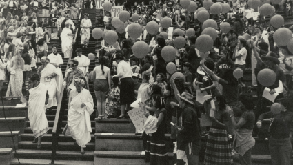 Celebrating in the ampitheater during the first Pangy Day, 1980