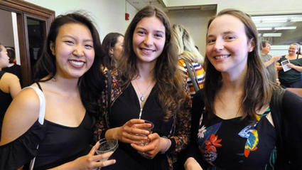 Amy Lim '18 (left), Julia Kellerbauer '18 (middle), and Lim's mentor, Margaret (Gretchen) Lay, assistant professor of economics, Global Competence Awards ceremony.