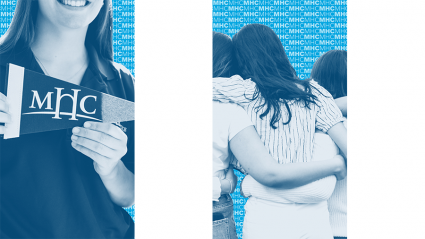 Social graphics: Mount Holyoke banner and students embracing