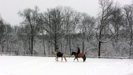 Two riders on horseback riding through the snow