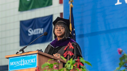 Photo of Shirley Wilcher '73 at the 2018 Commencement ceremony