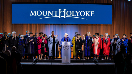Photo of Sonya Stephens at the podium during her Inauguration