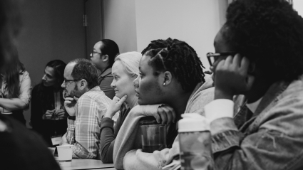 Students, faculty and staff listen to a presentation at LEAP 2018.