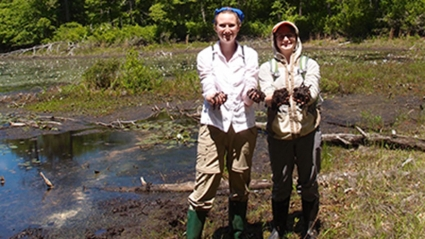 Photo of two students doing Tidmarsh research