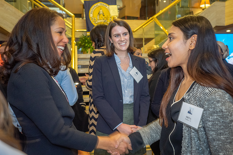 Students at a leadeship networking event