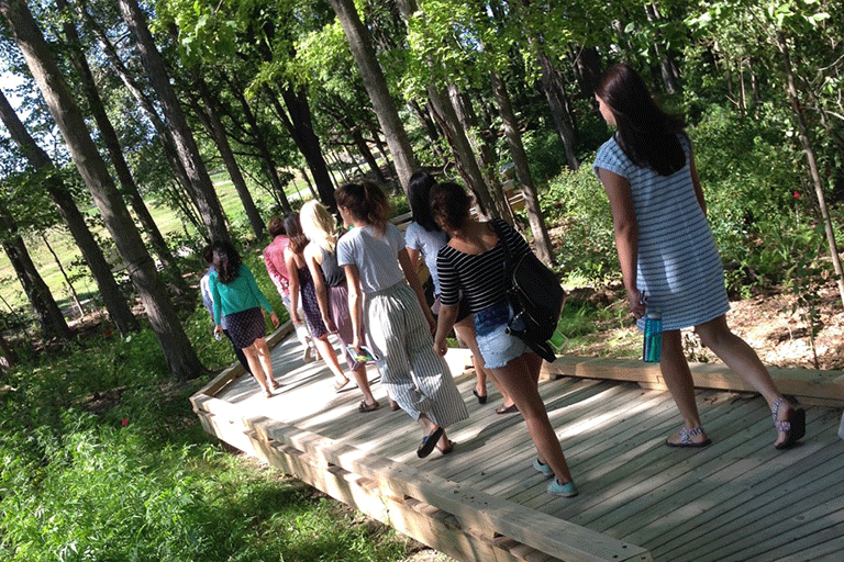 Photo of a group of students on the Restoration Ecology boardwalk
