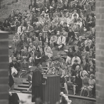 Photo of Rev. Dr. Martin Luther King speaking at MHC in 1963