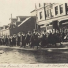 Students march in Armistice Day Parade in Holyoke celebrating end of World War I.