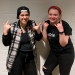 """First-year student Gina Pasciuto (left) and sophomore Hannah Dubé (right) take a break from all-day rehearsals for the musical """"American Idiot."""""""