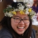 student wearing flower wreath on Pangy Day. Photo by Alheri Egor-Egbe '17.