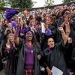 Frances Perkins scholars in their signature purple garb celebrating the start of the academic year during the Convocation ceremony