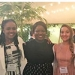 Mount Holyoke's winning team at the IBECC event in Santa Monica: from left, Shanae McDonald '17, Pearl Umoye '19 and Hadassa Mikalixen '18.